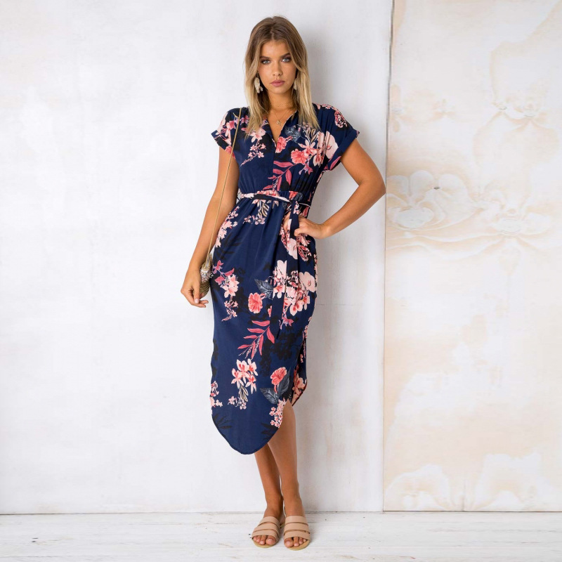 2018 Summer Dress Women Print V Neck Short Sleeve Robe Female Dresses Casual Sashes Midi Dress Ladies Elegant Vestidos Dropship 26