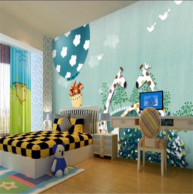Custom waterproof large mural green wallpaper fabric wall paper 3D stereoscopic cartoon kidss room sofa bedroom wall giraffe<br><br>Aliexpress