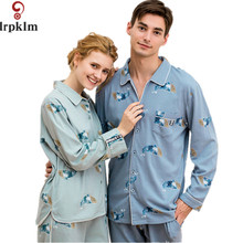 Spring Autumn Cotton Couple Pajama Sets Lounge Wear Long Sleeve Lovers Pajamas For Women And Men Pyjamas Sleepwear Suit SY834