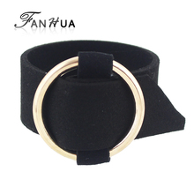 Black Leather Bracelets with Gold-Color Silver Color Circle Decoration Wide Belt Design Wrap Bracelets for Women(China)