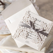 20pcs/Lot Wedding Invitation Card Wedding Cards Invitation 2015 Laser Cut Vintage Wedding Supplies(China)