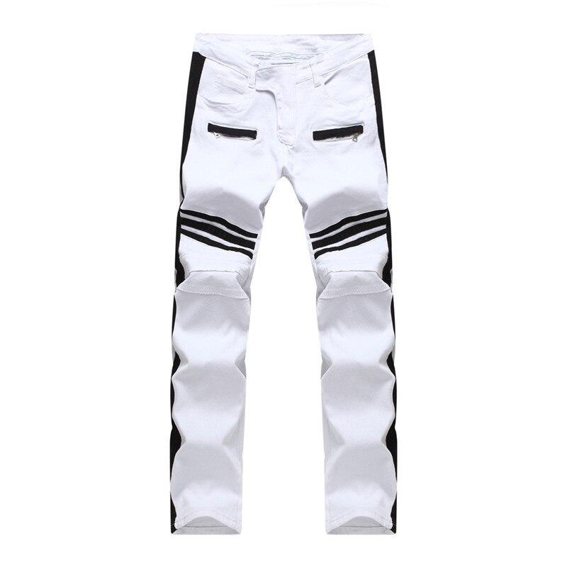 Top Quality White Biker Jeans Men Black Stripes Stitching Slim Homme Casual Straight Slim Denim Pants Pencil Pants Men JeansÎäåæäà è àêñåññóàðû<br><br>