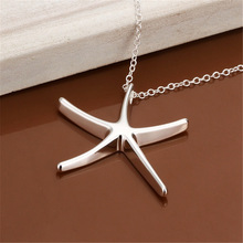 new free shipping  silver plated  necklace jewelry silver jewelry fashion cute Star Starfish pendant snake necklace hot