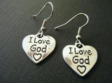 New Vintage Ancient Silver I Love God Heart Charms Dangle Earrings For Women Gift Jewelry Making 50 pair(China)