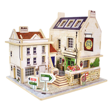 Factory Wholesale British Style 3D Wood Puzzle Kids DIY Wooden Toys Children's Model DIY Gift Free Shipping(China)