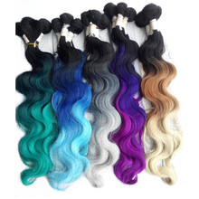 "1set Esprit Beauty Products 18"" 20"" 22"" Blue Green Ombre Synthetic Hair Weaving Extension High Temperature Fiber Body Wave Weft(China)"