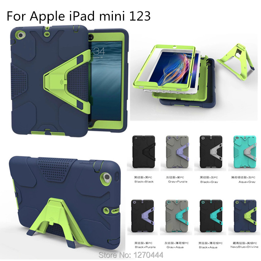 For Apple mini New Retina Kids Baby Safe Armor Shockproof Heavy Duty Silicone Hard Cover For iPad mini 123 tablet +film+pen+OTG<br><br>Aliexpress
