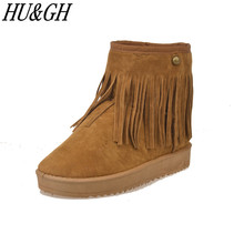 2017 Winter New Women's fringe boots female flat short tube boots waterproof and velvet with thick warm cotton shoes woman boots(China)