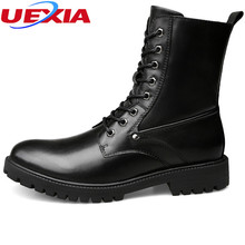 UEXIA Luxury High Leather Boots Men Designer Shoes Fashion Casual Work Walking Rubber Snow Leisure Male Motorcycle High-Cut Men(China)