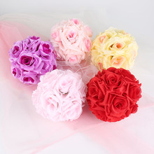 "6"" Handmade Artificial Flowers Silk Rose Kissing Flower Hanging Ball DIY Bouquet Home Wedding Party Decor 6 Color Available"