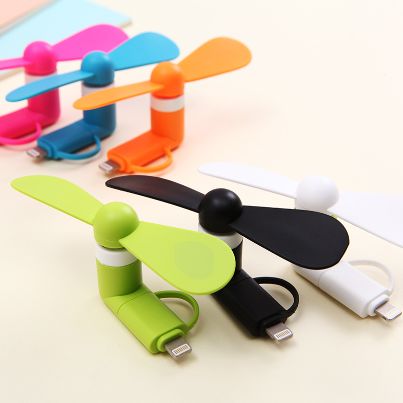 2-in-1 Mini Cell Phone Fan for iPhone/iPad and Android(China)