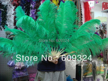Kelly GREEN Ostrich Feathers Fan hand made for costumes(China)