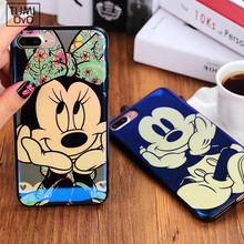Reflective Blue Light Animal Cartoon Mickey Minnie Soft TPU Case for iPhone 6 6s 7 Plus Fancy Cute Artistic Back Cover Cases(China)