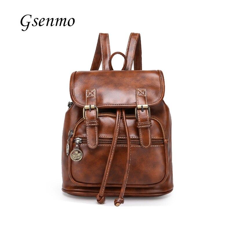 2016 Leather Women Backpack Good Quality School Backpacks For Teenage Girls Rugzak Brown Women Backpack PU Leather Mochila<br>