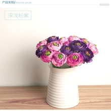 Real Touch Silk Flowers Simulation Ranunculus Flower Artificial Flowers Bouquet For Wedding Home Table Decoration (without vase)