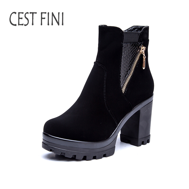 CESTFINI Suede Women Rubber Boots Ankle Boots For Women Winter Leather Boots Women Black Shoes Size 36-41#B008<br>