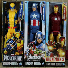 "SuperHeros The Avengers Iron Man Captain American Wolverine Thor Spiderman hero PVC Toy Action Figure Model Doll Toys 12""30cm(China)"