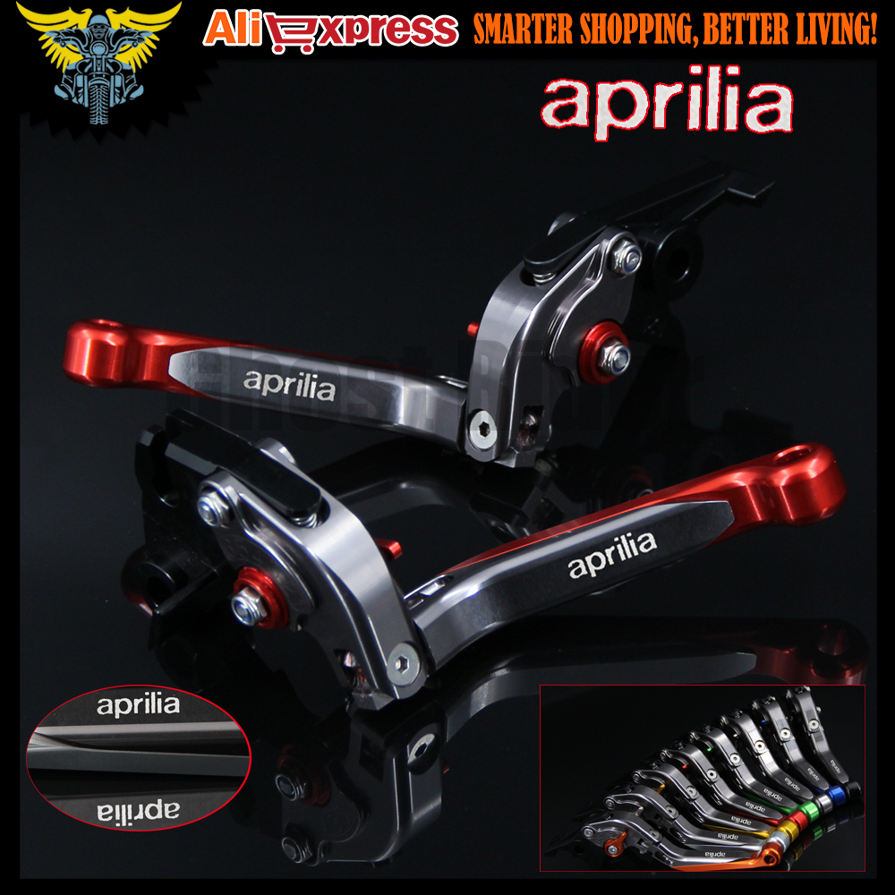 Red+Titanium CNC Adjustable Folding  Motorcycle Brake Clutch Levers For Aprilia TUONO / R 2003 2004 2005 2006 2007 2008 2009<br>