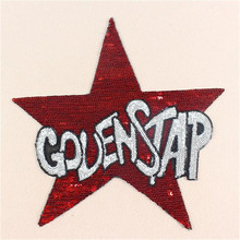 1pcs Fashion Designs 19cm Red Star Logo Embroidered Patches Clothes Sequins Patch DIY Hotfix Motif Applique Free Shipping