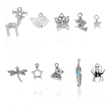Doreen Box hot- Charm Pendants Mixed Shape Antique Silver 28mmx5mm-11mmx9mm,50PCs (Z00035)