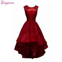 Linyixun Real Photo Sexy Scoop Lace Short Prom Dresses 2017 Ball Gown Ruffles Organza Cocktail Dress Knee Length Evening Dresses
