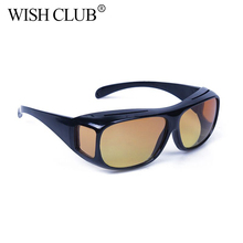 WISH CLUB Men Night Safety Vision Goggles Anti-Glare Shades Polarized Sunglasses Men Driving Glasses Sun Glasses UV Protection