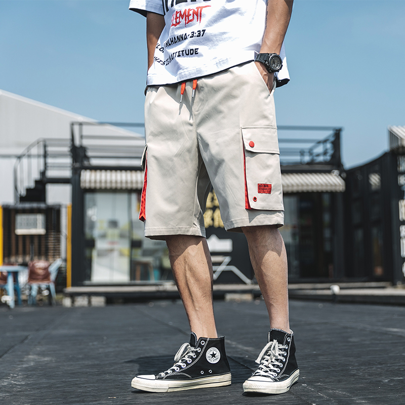 Cargo Shorts Men Summer Straight Solid Casual Shorts Pocket Knee Length Streetwear Japanese Style Mens Shorts