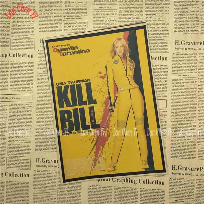 Kill Bill Vol  Classic Retro Movie Kraft Paper Poster Bar Cafe Living Room Dining room Quentin Tarantino Poster Videos