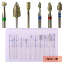 12pcs Diamond Burr Electric Nail Art Machine 3/32'' Drill Bit Sets for Milling Cutter Cleaning Manicure Nail Tools TR310