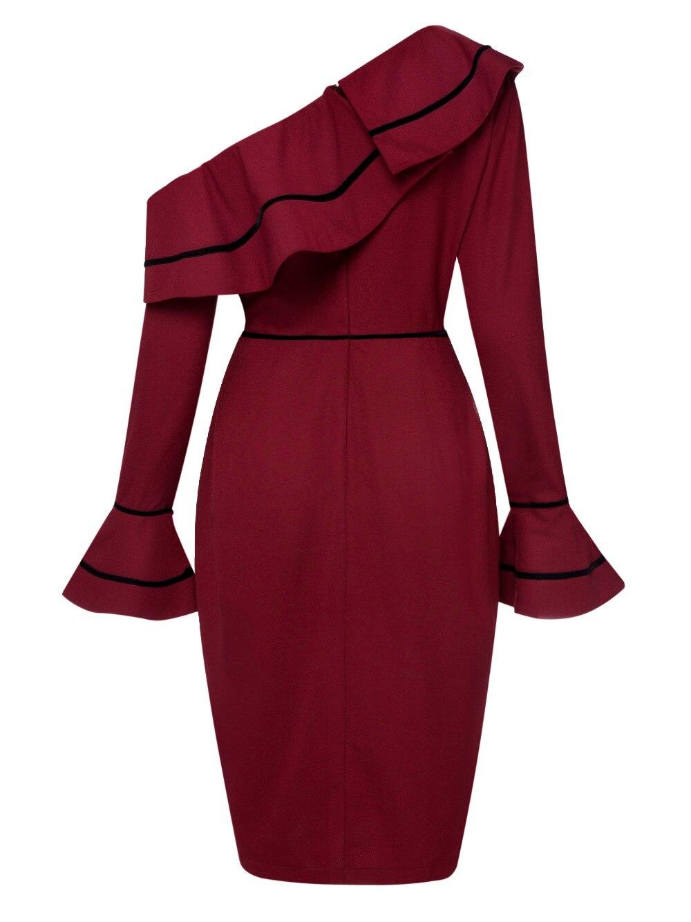 9ff178f881 Wine Red Asymmetric One Shoulder Autumn Pencil Dress Flare Long ...