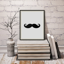 Mustache Canvas Wall Art Poster, Minimalist Scandinavian Paintings, Black and White Paintings for Living Room Wall Decor