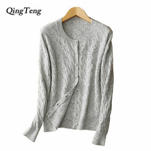 QingTeng Warm Fashion Female Cardigans Twist Dolor Dot Pure Cashmere Kinckeboker Yarn Kniited Cardigan Women With Pearl Button(China)