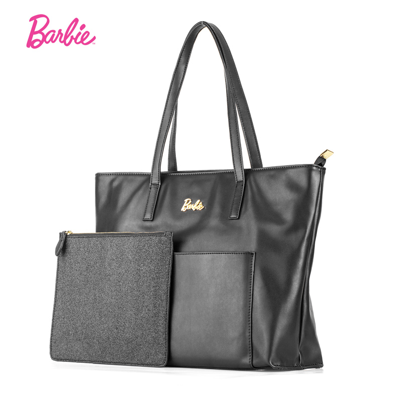 Barbie big New women composite bags Europe designed simple black women leather handbags business style shoulder bag<br>