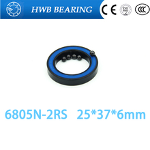 Free Shipping 6805N bearing steel hybrid ceramic ball bearing 6805n rs 25*37*6mm bicycle hubs 6805N-2RS 6805n 2rs mr25376 2rs