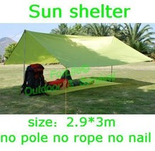 PSKOOK Outdoor Sun Shelter Sun Shade Waterproof Rainfly Camping Cushion Hiking Ultralight Tarp Survival Shelter (2.9m*3m) 1pc(China)