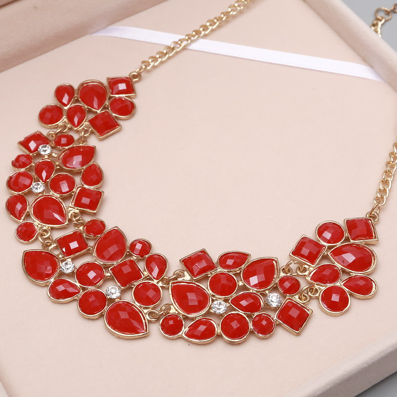 MINHIN New Popular Colors Multicolor Big Pendant Clavicle Chain Necklace Women's Delicate Banquet Jewelry 7