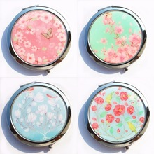 Women Flower Design Makeup Mirror Lovely Little Sheep Pocket Crystal Portable Double Dual Sides Compact Mirrors With Box 9985#