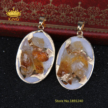 Natural Citrine Yellow Crystal Quartz Nugget Oval Egg Shape Stone Pendants Gold Color Plating Bail Fashion Woman Jewelry F045