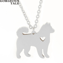 GORGEOUS TALE 10PCS Promotional Gift Stainless Steel Tiny Heart Dog Necklace Silver Color Chain Child Mother Necklace 2017