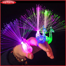 5Pcs Peacock / Robot Finger Light Colorful LED Light-up Rings Party Gadgets Toy For Little Princess / Prince DIY Random Color(China)