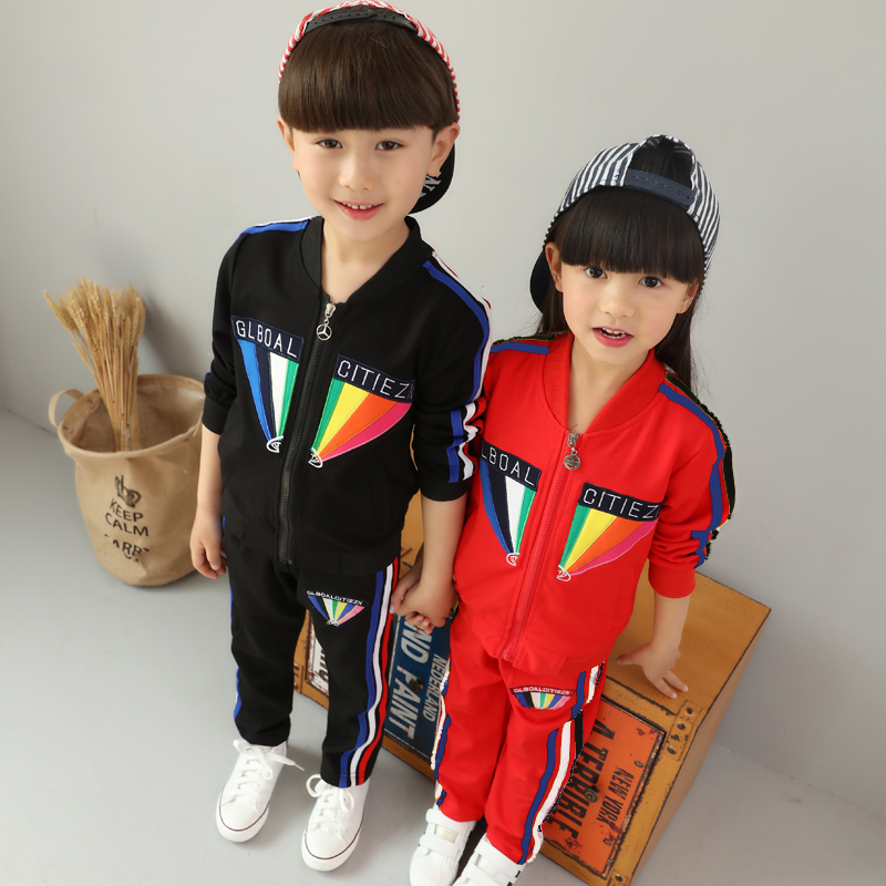Childrens sports suits spring clothing childrens clothing boy baby girls in the spring and autumn fleece<br>