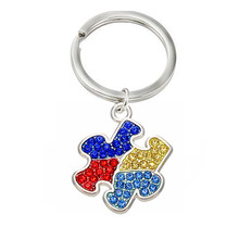 Rhinestone Crystal Awareness Autism Puzzle Pieces Pendants Keychains Key Holder For Gifts(China)