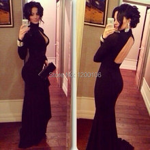Modest High Neck Black Mermaid Cut Out  Vestidos De Festa Long Sleeves Formal Evening Prom Dresses 2014 Russia