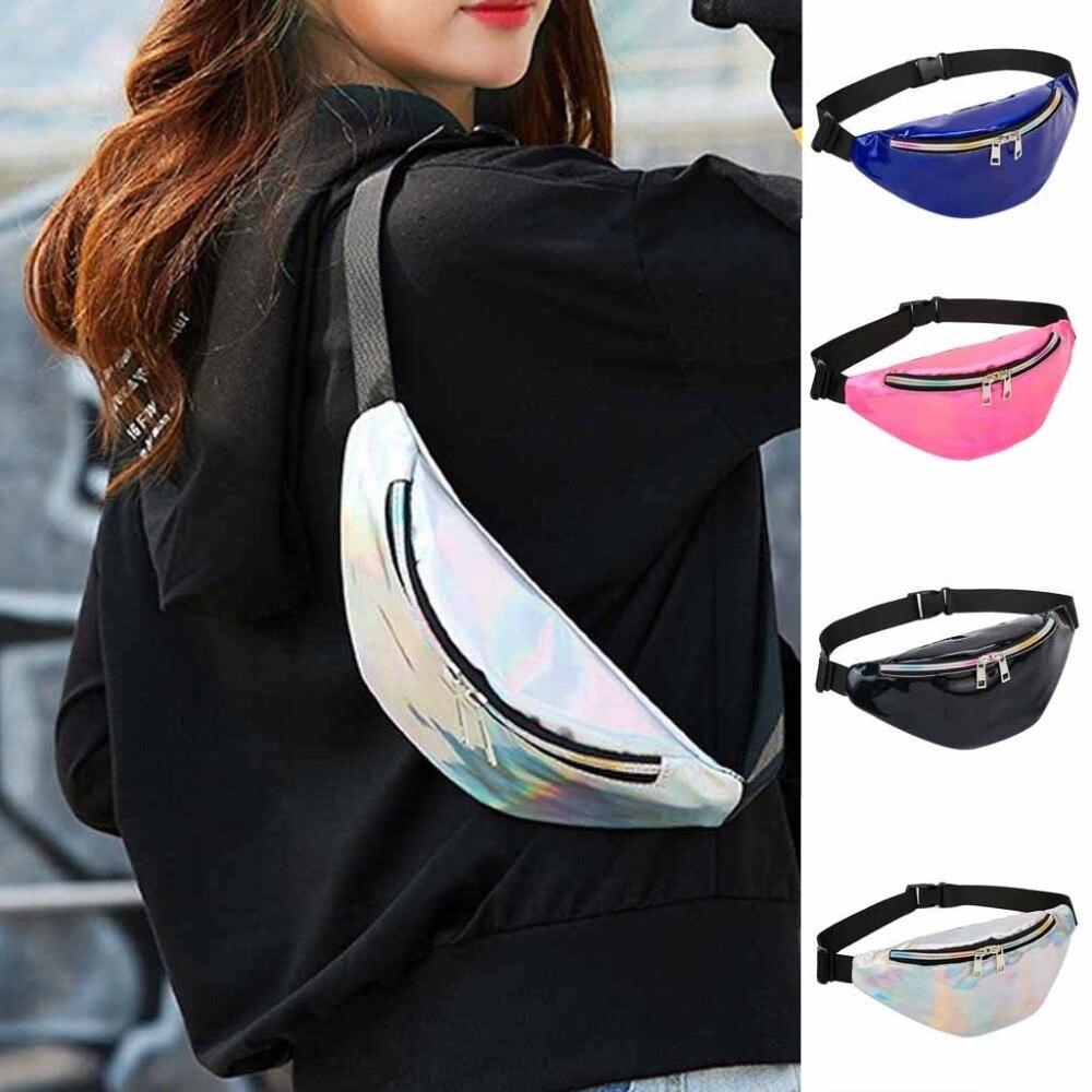 CHLZYD Outdoor Sequins Shoulder Diagonal Fashion Women Color Zipper Sequin Girl Messenger Bag Sport Chest Bag Waist Bag