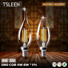 TSLEEN E12 Led Lamp E14 220V Led Bulbs 110V Candle Bulb Energy Saving Lamp Light Home Lampada Led Decorativas 4W 8W Ampoule Led