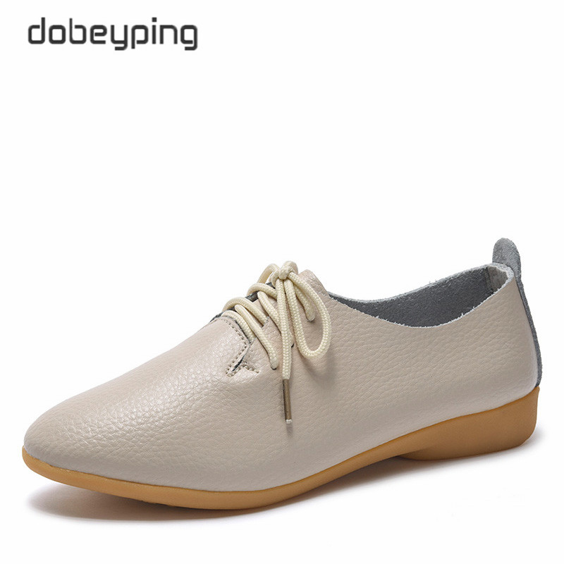 dobeyping 2018 New Women Shoes Genuine Leather Women's Shoe Lace-Up Female Flats Pointed Toe Woman Oxfords Large Size 35-44(China)