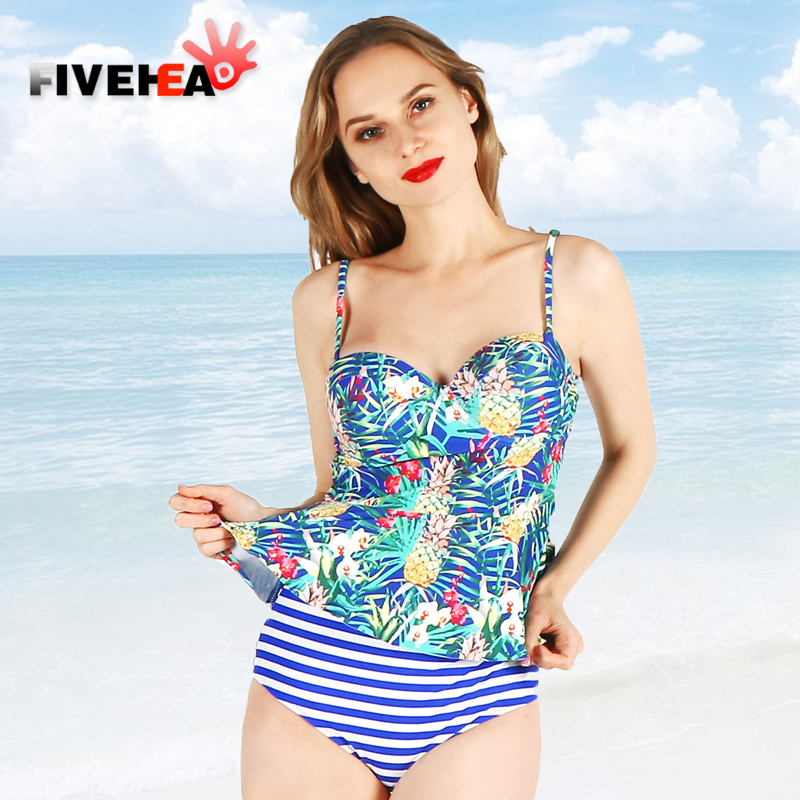 one-piece women swimwear sexy sling halter deep v blue striped flower printed large size bathing swimsuit push up female<br>