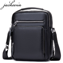 JACKKEVIN Top Quality 100% Genuine Leather Bag Men iPad Tabelt Cowskin Crossbody Bag Men's Handbags & Messenger Bags for Gift