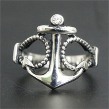 Support Dropship Clean Crystal Anchor Ring 316L Stainless Steel Jewelry Men Boys Anchor Ring(China)