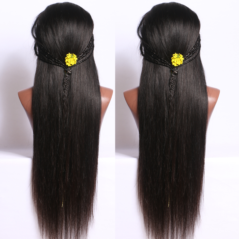 Luffy Indian Silky Straight 13*6 Deep Parting Glueless Lace Front Human Hair Wigs For Black Women With Baby Hair Non-remy Hair